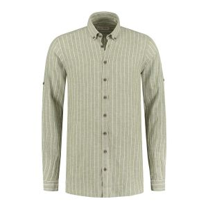 Blue Crane slim fit shirt - Linen light green