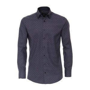 Venti Modern Fit Shirt - Dark Blue Print